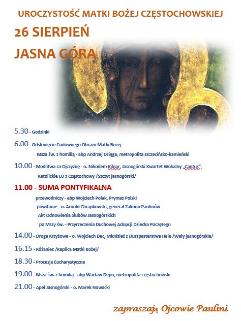 uroczystość Matki Bożej Częstochowskiej