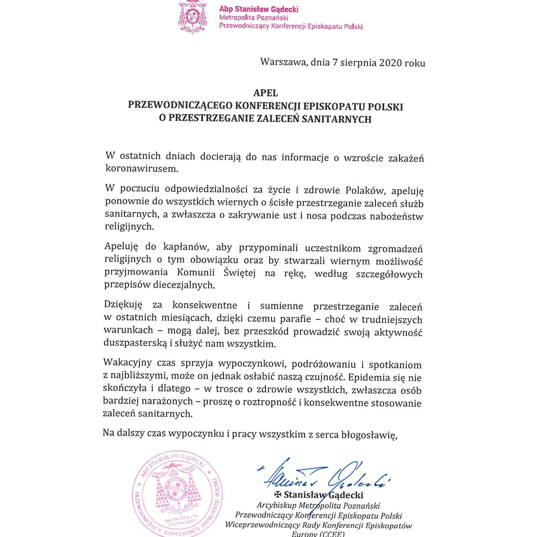 Apel Episkopatu o przestrzeganie zaleceń sanitarnych